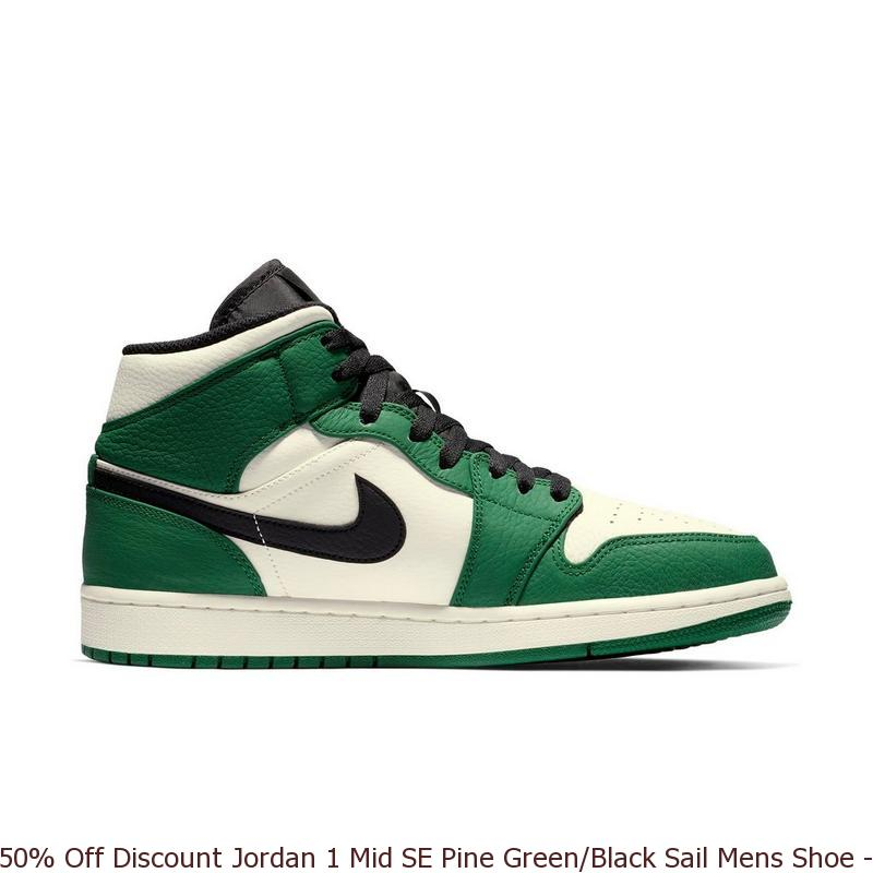 3a0ef171834d 50% Off Discount Jordan 1 Mid SE Pine Green Black Sail Mens Shoe ...