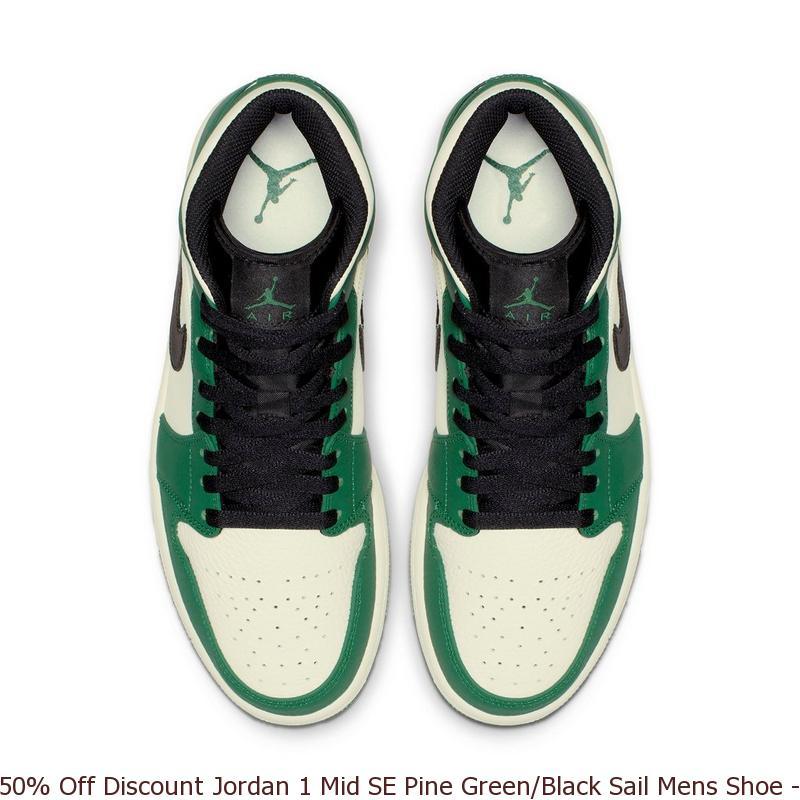 50% Off Discount Jordan 1 Mid SE Pine Green Black Sail Mens Shoe ... 8fd48a869fe5